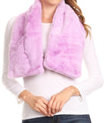 Sakkas Malen Long Rectangle Faux Fur Warm Soft Furry Wrap Around Loophole Scarf#color_Lilac