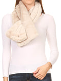 Sakkas Malen Long Rectangle Faux Fur Warm Soft Furry Wrap Around Loophole Scarf#color_Sand
