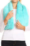 Sakkas Malen Long Rectangle Faux Fur Warm Soft Furry Wrap Around Loophole Scarf#color_Turquoise