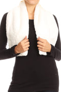 Sakkas Malen Long Rectangle Faux Fur Warm Soft Furry Wrap Around Loophole Scarf#color_White