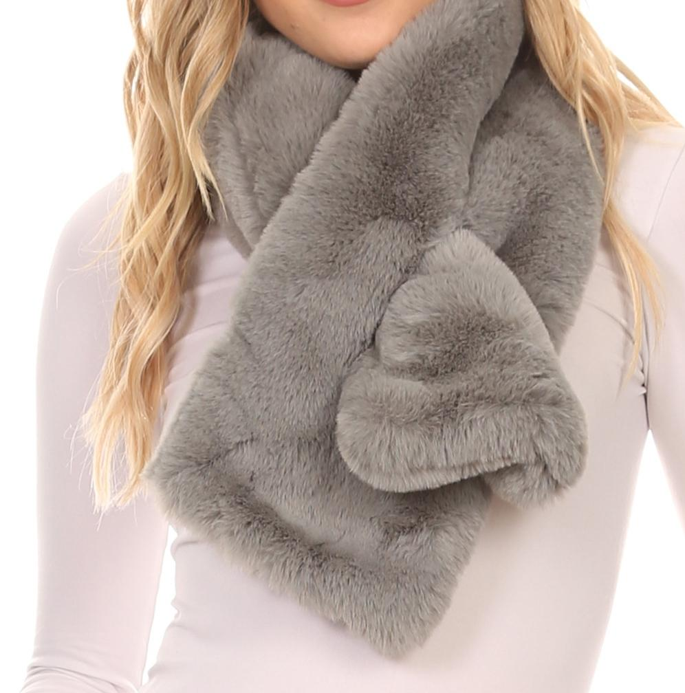 Sakkas Kiy Loophole Faux Fur Long Soft Warm Comfortable Textured Bow Scarf