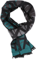 Sakkas Louek Long Wide Multi Colored Patterend UniSex Cashmere Feel Scarf#color_Aqua