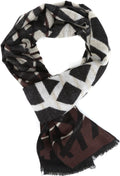Sakkas Louek Long Wide Multi Colored Patterend UniSex Cashmere Feel Scarf#color_Brown