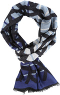 Sakkas Louek Long Wide Multi Colored Patterend UniSex Cashmere Feel Scarf#color_Navy