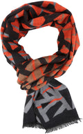 Sakkas Louek Long Wide Multi Colored Patterend UniSex Cashmere Feel Scarf#color_Orange