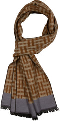 Sakkas Jiel Long Wide Classic Multi Colored Pattern UniSex Cashmere Feel Scarf#color_Brown