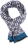 Sakkas Jiel Long Wide Classic Multi Colored Pattern UniSex Cashmere Feel Scarf#color_Navy