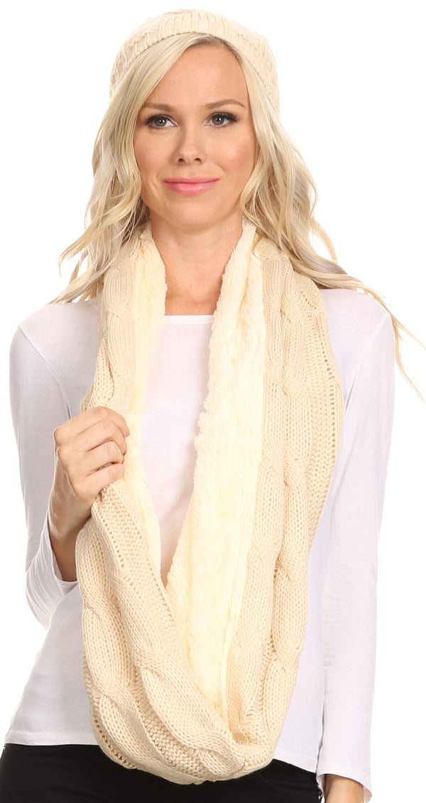 Sakkas Olliey Long Wide Classic Cable Knit Fur Lined Infinity Scarf And Hat Set#color_Beige