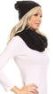 Sakkas Olliey Long Wide Classic Cable Knit Fur Lined Infinity Scarf And Hat Set