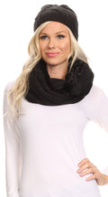 Sakkas Olliey Long Wide Classic Cable Knit Fur Lined Infinity Scarf And Hat Set#color_Black