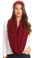Sakkas Olliey Long Wide Classic Cable Knit Fur Lined Infinity Scarf And Hat Set#color_Burgandy