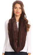 Sakkas Olliey Long Wide Classic Cable Knit Fur Lined Infinity Scarf And Hat Set#color_Chocolate