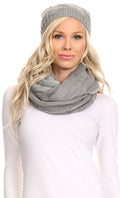 Sakkas Olliey Long Wide Classic Cable Knit Fur Lined Infinity Scarf And Hat Set#color_Grey