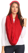 Sakkas Olliey Long Wide Classic Cable Knit Fur Lined Infinity Scarf And Hat Set#color_Red