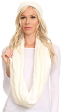 Sakkas Olliey Long Wide Classic Cable Knit Fur Lined Infinity Scarf And Hat Set#color_White