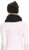 Sakkas Balencia Cool Girl Long Wide Soft Fur Lined Infinity Scarf Beanie Hat Set#color_Black