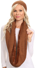 Sakkas Balencia Cool Girl Long Wide Soft Fur Lined Infinity Scarf Beanie Hat Set#color_Brown
