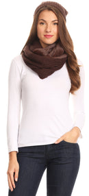 Sakkas Balencia Cool Girl Long Wide Soft Fur Lined Infinity Scarf Beanie Hat Set
