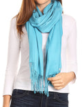 Sakkas Iris Warm Super Soft Cashmere Feel Pashmina Shawl  / Scarf with Fringes#color_Turq