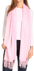 Sakkas Iris Warm Super Soft Cashmere Feel Pashmina Shawl  / Scarf with Fringes#color_Baby Pink