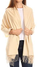 Sakkas Iris Warm Super Soft Cashmere Feel Pashmina Shawl  / Scarf with Fringes#color_Beige
