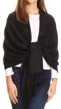 Sakkas Iris Warm Super Soft Cashmere Feel Pashmina Shawl  / Scarf with Fringes#color_Black