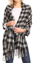 Sakkas Iris Warm Super Soft Cashmere Feel Pashmina Shawl  / Scarf with Fringes#color_Black Plaid