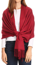 Sakkas Iris Warm Super Soft Cashmere Feel Pashmina Shawl  / Scarf with Fringes#color_Burgundy