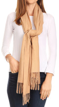 Sakkas Iris Warm Super Soft Cashmere Feel Pashmina Shawl  / Scarf with Fringes#color_Camel