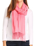 Sakkas Iris Warm Super Soft Cashmere Feel Pashmina Shawl  / Scarf with Fringes#color_Coral