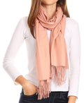 Sakkas Iris Warm Super Soft Cashmere Feel Pashmina Shawl  / Scarf with Fringes#color_Dusty Rose