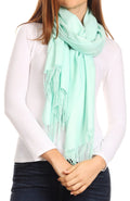 Sakkas Iris Warm Super Soft Cashmere Feel Pashmina Shawl  / Scarf with Fringes#color_Green/mint