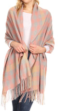 Sakkas Iris Warm Super Soft Cashmere Feel Pashmina Shawl  / Scarf with Fringes#color_Grey Plaid