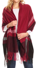 Sakkas Iris Warm Super Soft Cashmere Feel Pashmina Shawl  / Scarf with Fringes#color_Grey / Black / Red