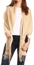 Sakkas Iris Warm Super Soft Cashmere Feel Pashmina Shawl  / Scarf with Fringes#color_Khaki