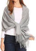 Sakkas Iris Warm Super Soft Cashmere Feel Pashmina Shawl  / Scarf with Fringes#color_Light Grey
