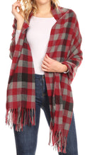 Sakkas Iris Warm Super Soft Cashmere Feel Pashmina Shawl  / Scarf with Fringes#color_Maroon / Grey Square