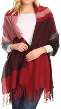Sakkas Iris Warm Super Soft Cashmere Feel Pashmina Shawl  / Scarf with Fringes#color_Maroon / Pink Stripe
