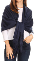 Sakkas Iris Warm Super Soft Cashmere Feel Pashmina Shawl  / Scarf with Fringes#color_Navy