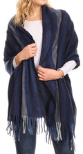Sakkas Iris Warm Super Soft Cashmere Feel Pashmina Shawl  / Scarf with Fringes#color_Navy / Blue Stripe