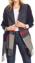 Sakkas Iris Warm Super Soft Cashmere Feel Pashmina Shawl  / Scarf with Fringes#color_Navy / Grey