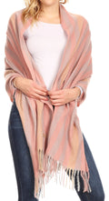 Sakkas Iris Warm Super Soft Cashmere Feel Pashmina Shawl  / Scarf with Fringes#color_Pink / Grey Stripe