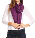 Sakkas Iris Warm Super Soft Cashmere Feel Pashmina Shawl  / Scarf with Fringes#color_Purple