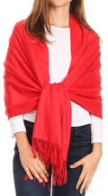 Sakkas Iris Warm Super Soft Cashmere Feel Pashmina Shawl  / Scarf with Fringes#color_Red