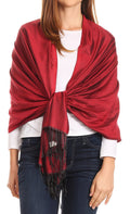 Sakkas Carine Reversible Soft Solid Slight Shimmer Pashmina/ Shawl/ Wrap/ Stole#color_Burgundy/black