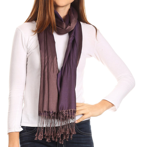 Sakkas Carine Reversible Soft Solid Slight Shimmer Pashmina/ Shawl/ Wrap/ Stole#color_Bronze/purple