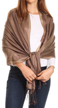 Sakkas Carine Reversible Soft Solid Slight Shimmer Pashmina/ Shawl/ Wrap/ Stole#color_Bronze/tan