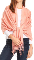 Sakkas Carine Reversible Soft Solid Slight Shimmer Pashmina/ Shawl/ Wrap/ Stole#color_Salmon