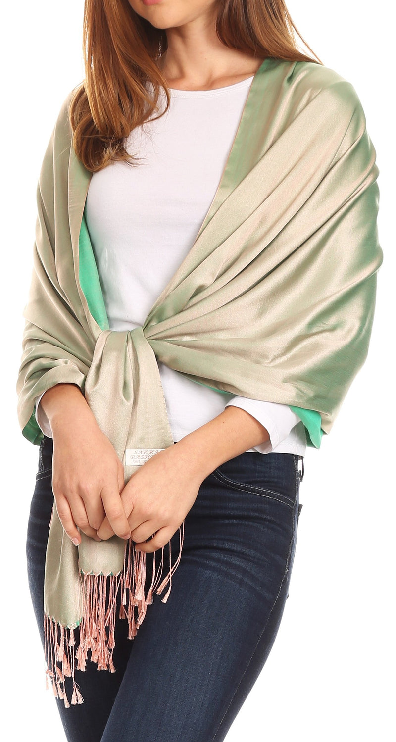 Sakkas Carine Reversible Soft Solid Slight Shimmer Pashmina/ Shawl/ Wrap/ Stole