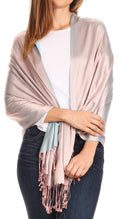 Sakkas Carine Reversible Soft Solid Slight Shimmer Pashmina/ Shawl/ Wrap/ Stole#color_Salmon/turq